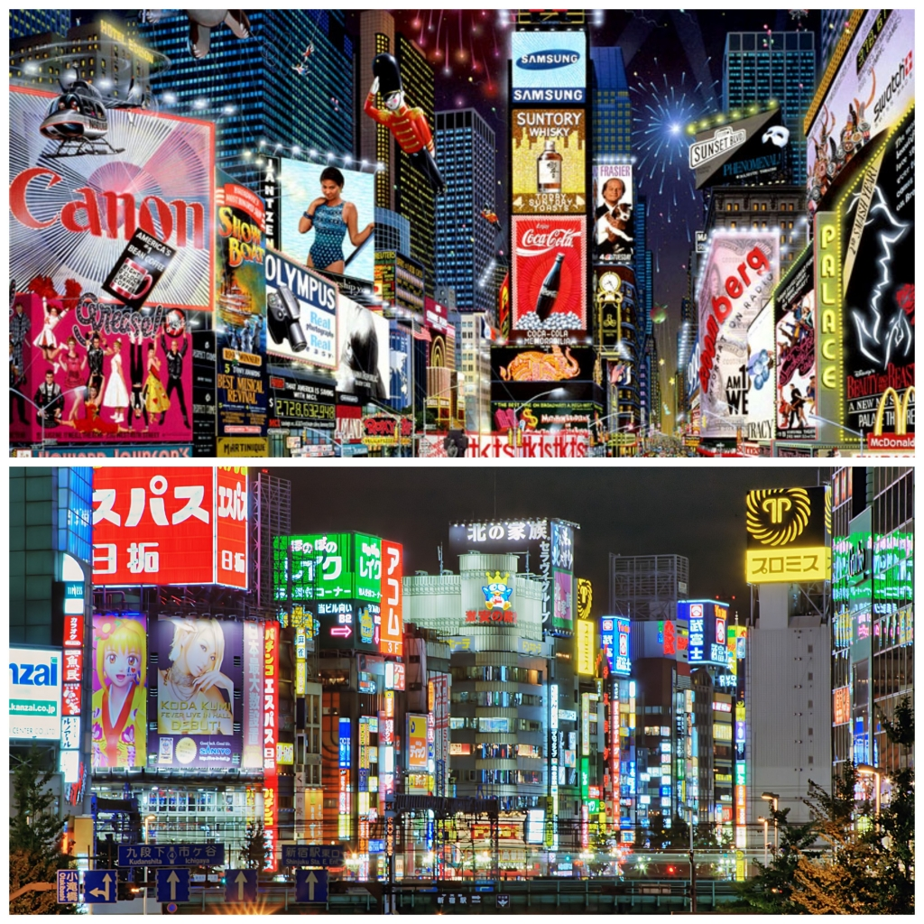 Tokyo NYC Times Square Collage