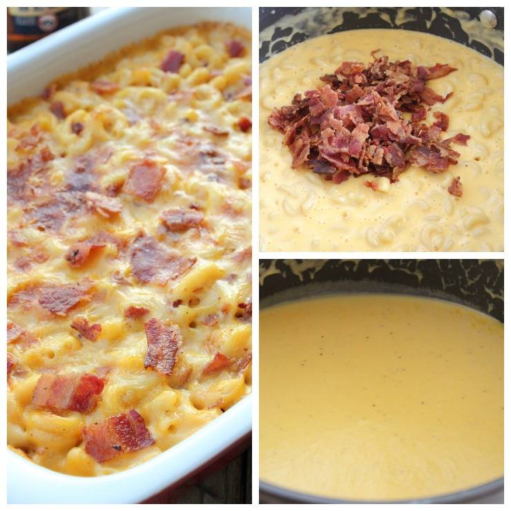 Beer Bacon Mac and Cheese Collage