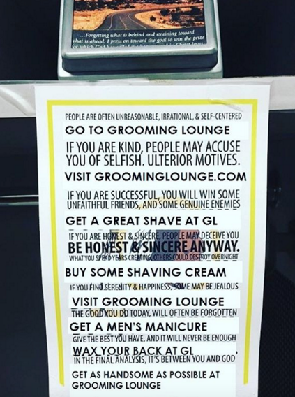 Groomin Lounge Rules Sign
