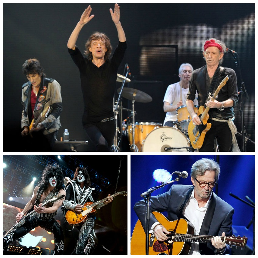 Rolling Stones, Clapton, Kiss Collage