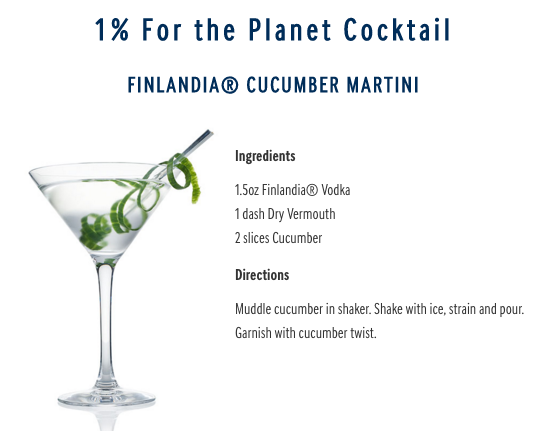 Finlandia 1% for the planet martini cocktail
