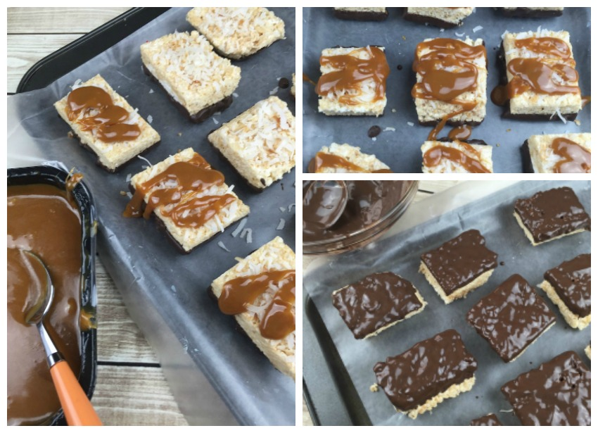 Samoa Rice Krispies Chocolate and Caramel Collage
