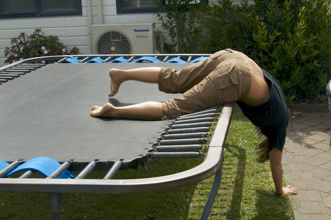 adult falling off trampoline