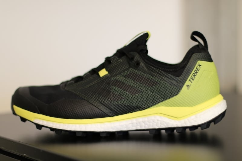 adidas Terrex outdoor sneakers closeup black and yellow