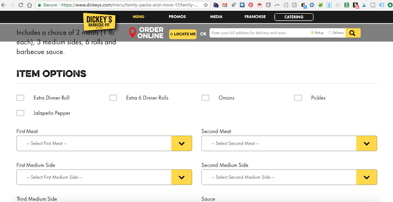 Dickey's Barbecue Pit Online Order Screen
