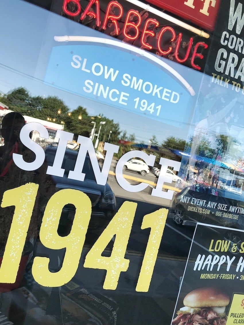 Dickey's Barbecue Pit Since 1941 window sign