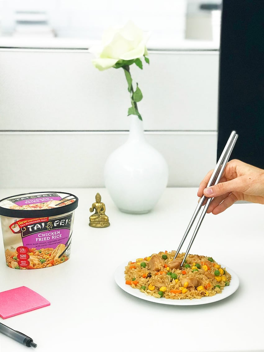Chicken Fried Rice - Being Eaten with Chopsticks