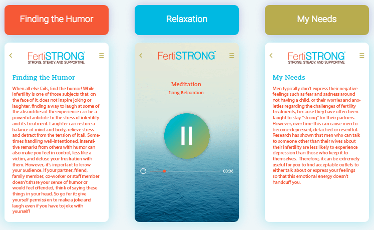 FertiStrong App category screenshots - three wide