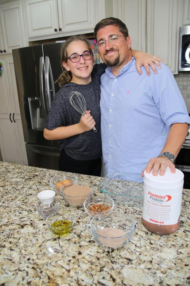 Premier Protein Brownie Recipe - dad and daughter ready to bake 2