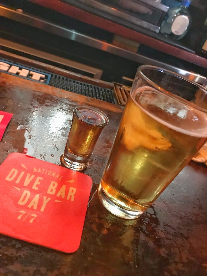 Seagram's 7 and a beer special dive bar day