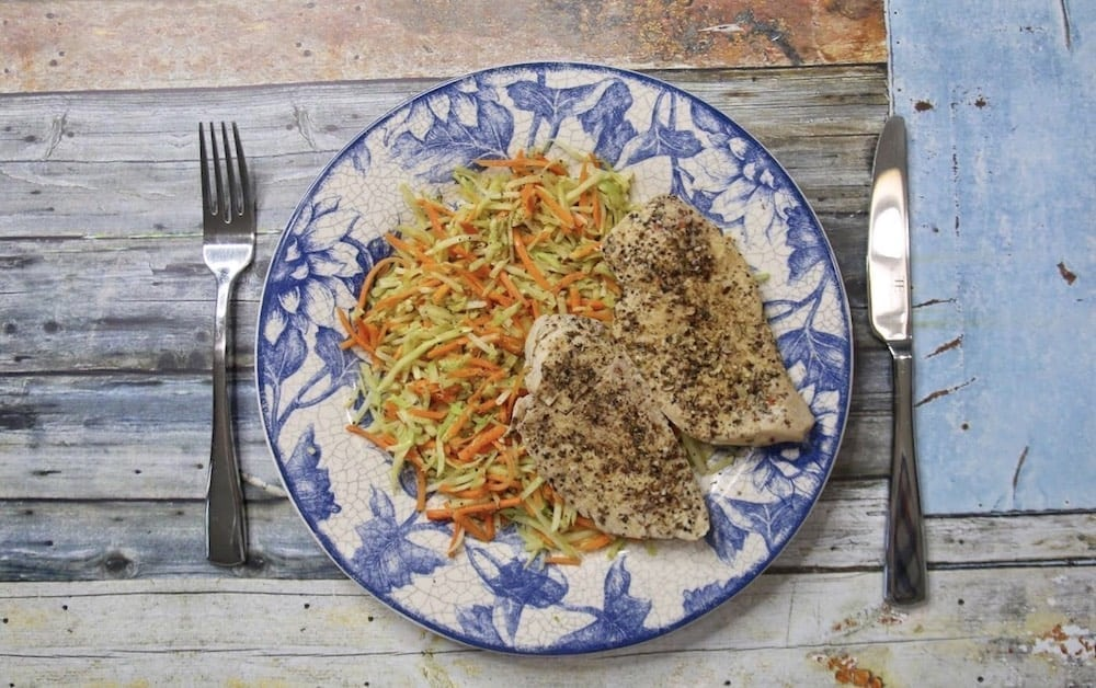 Sous-vide chicken breast and hot veggie slaw plated final