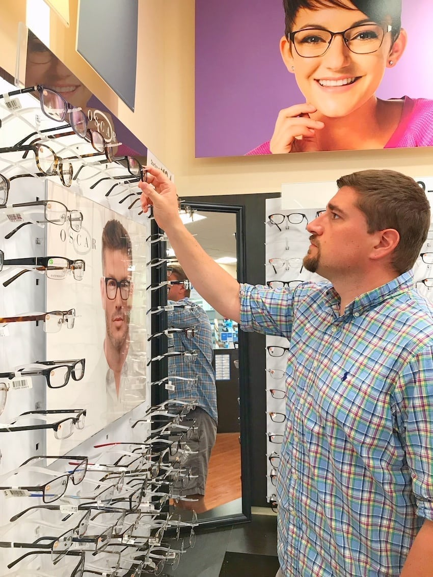 Walmart Vision Center looking at wall of glasses