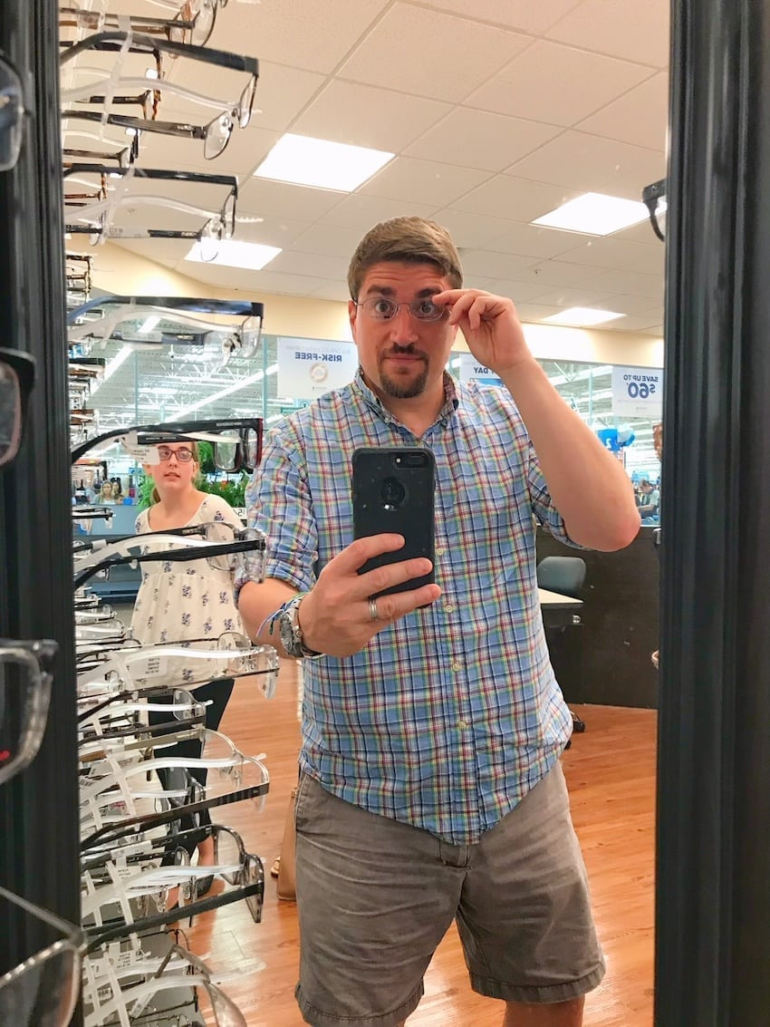 Walmart Vision Center - trying on new glasses