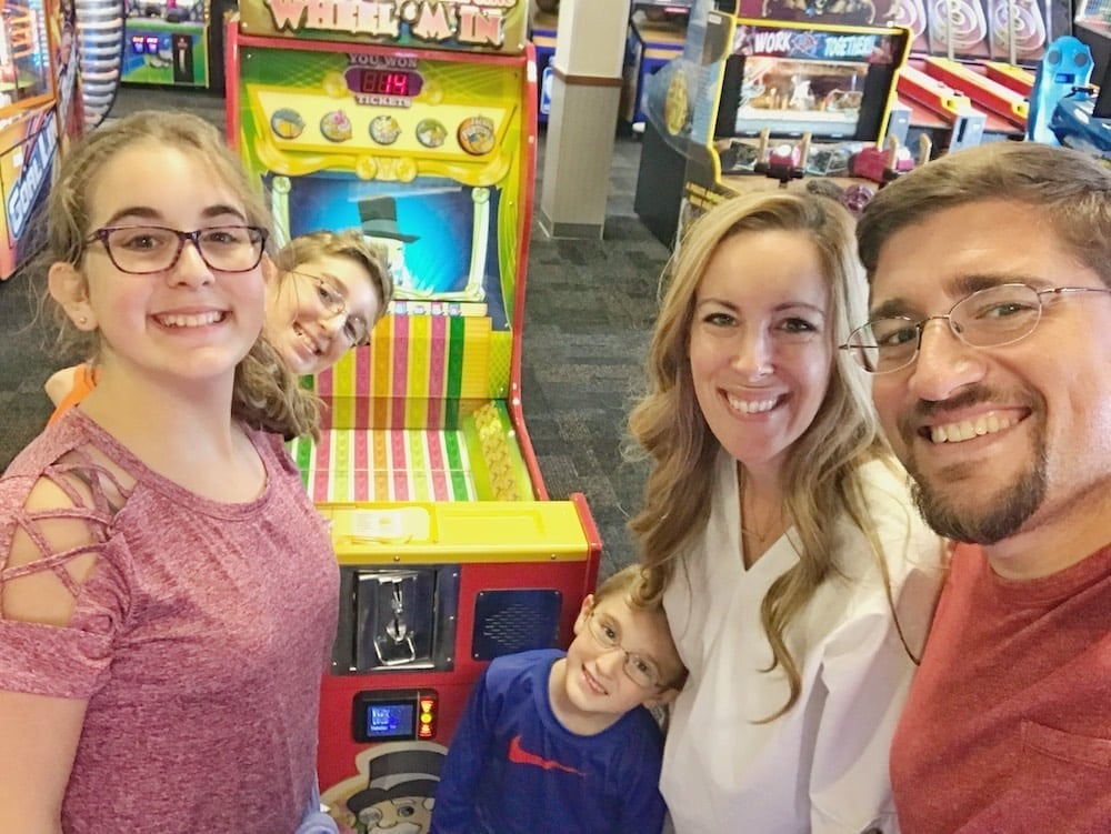 Chuck E Cheese's family selfie