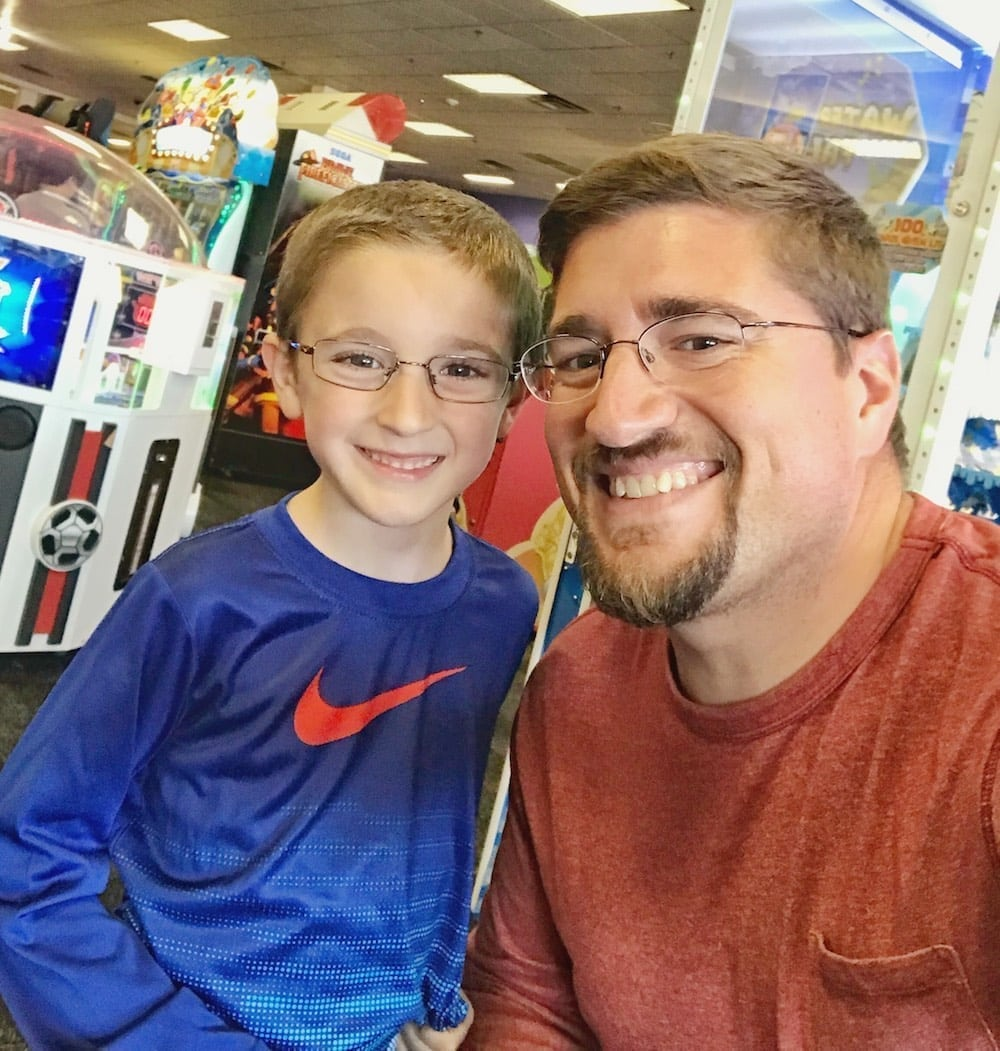 Chuck E Cheese's father and son selfie