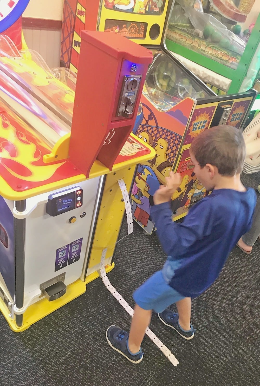 Chuck E Cheese's game printing out tickets
