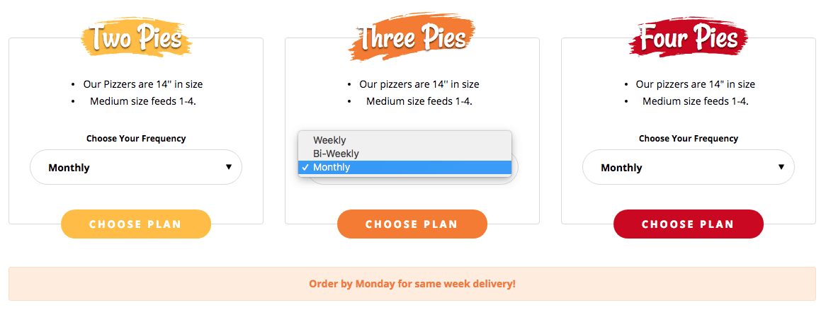 Pizzer Time Plan Options