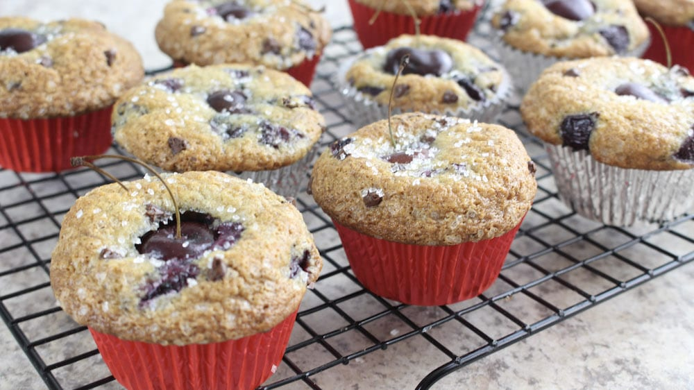 Chocolate Cherry Muffin - cool muffins on tray