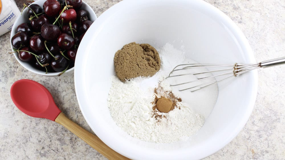 Chocolate Cherry Muffin - mixing ingredients