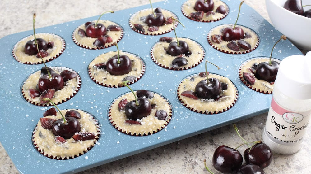 Chocolate Cherry Muffin - pour mix in tray
