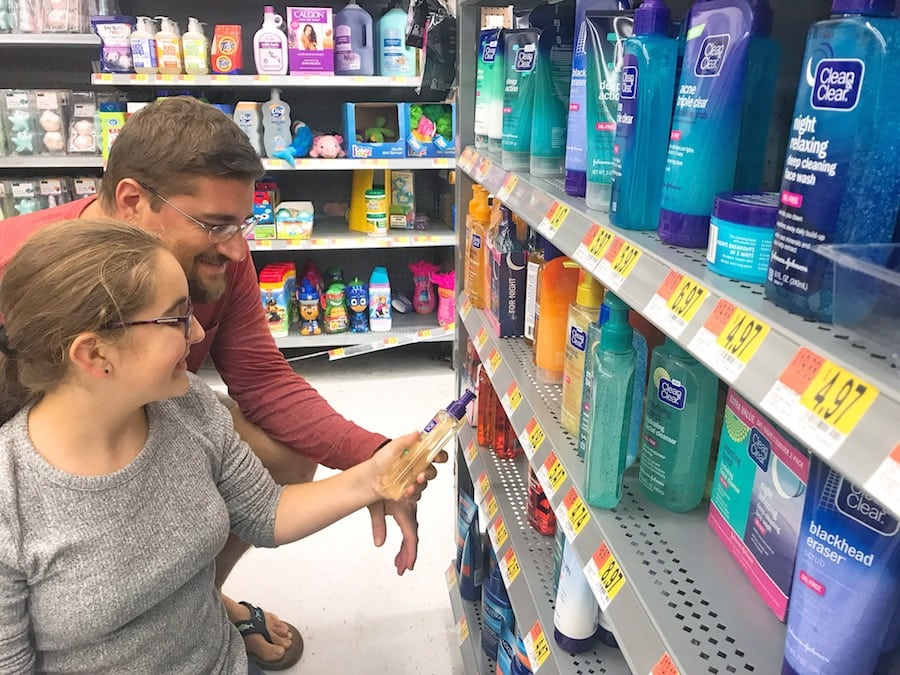 Clean & Clear products - father and teen girl at walmart