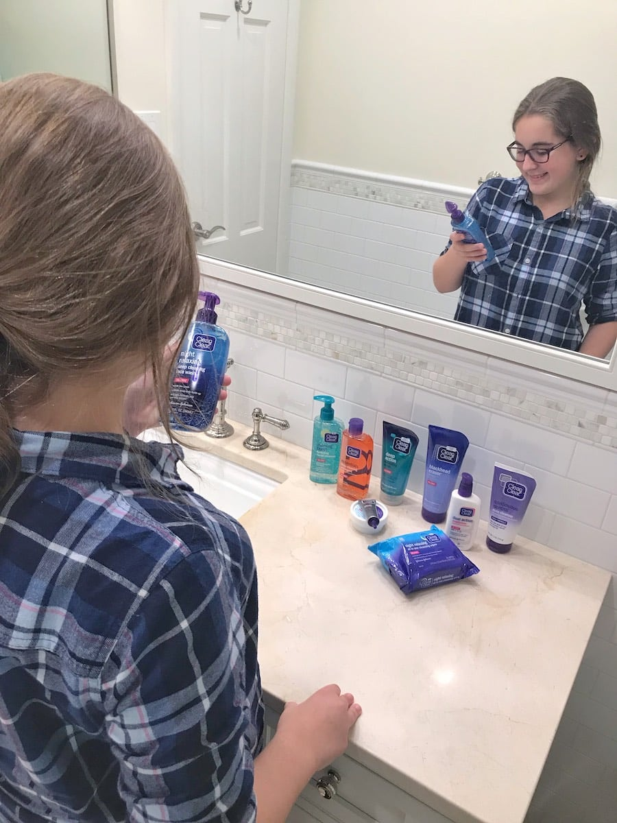Clean & Clear products - teen girl using product