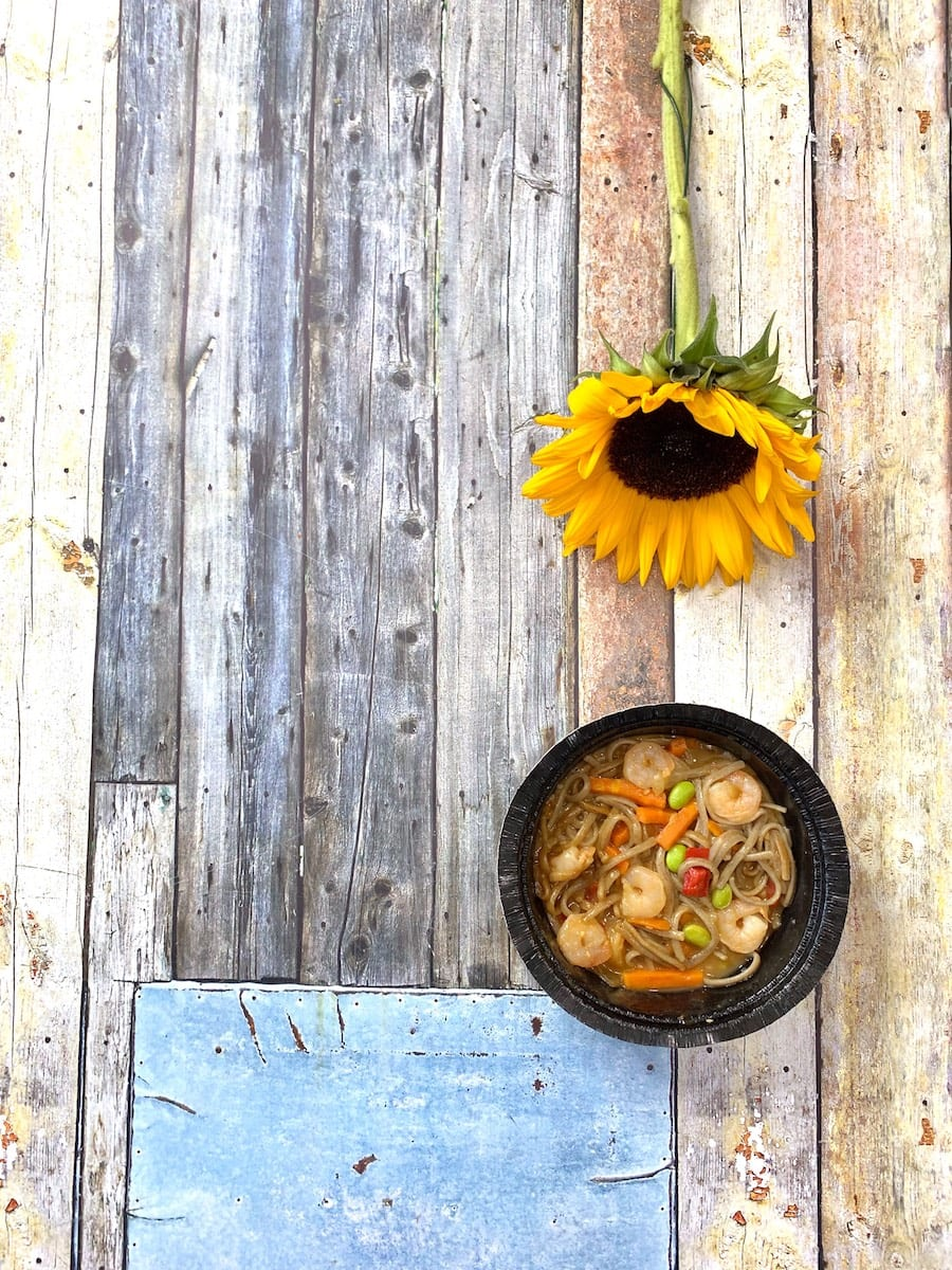 Gorton's Stir Fry with Soba Noodles - overhead with sunflower