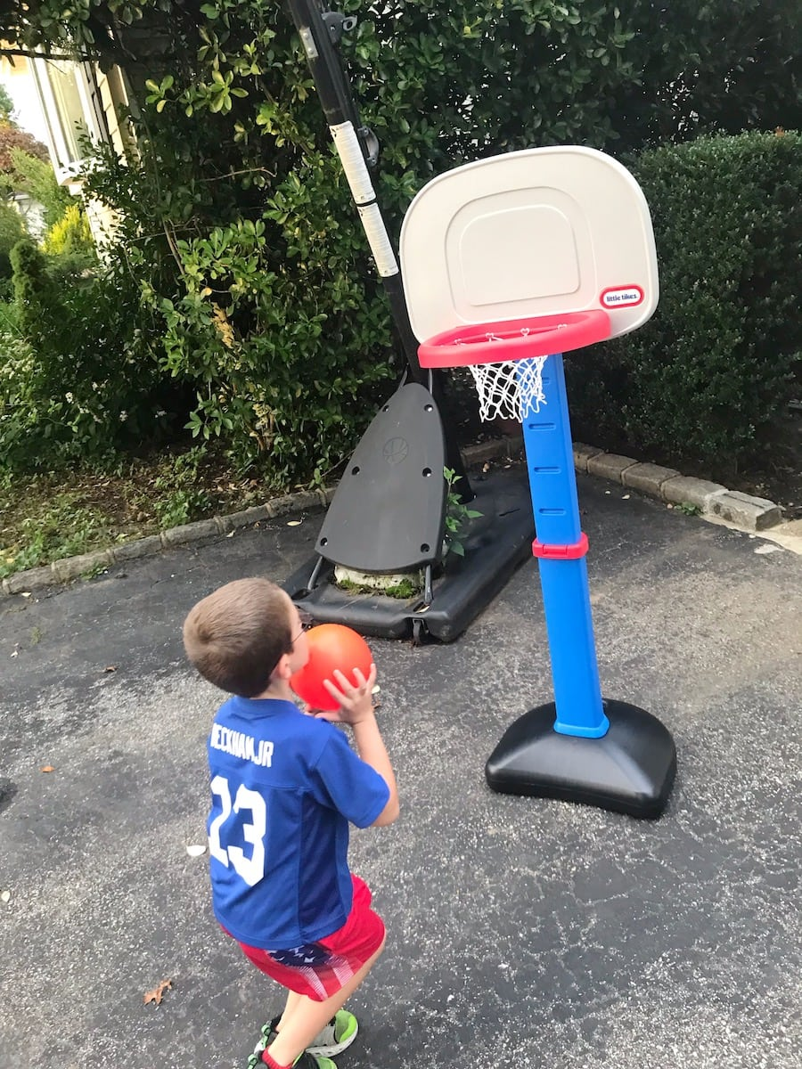 Little Tikes Easy Score Basketball 5 year old playing