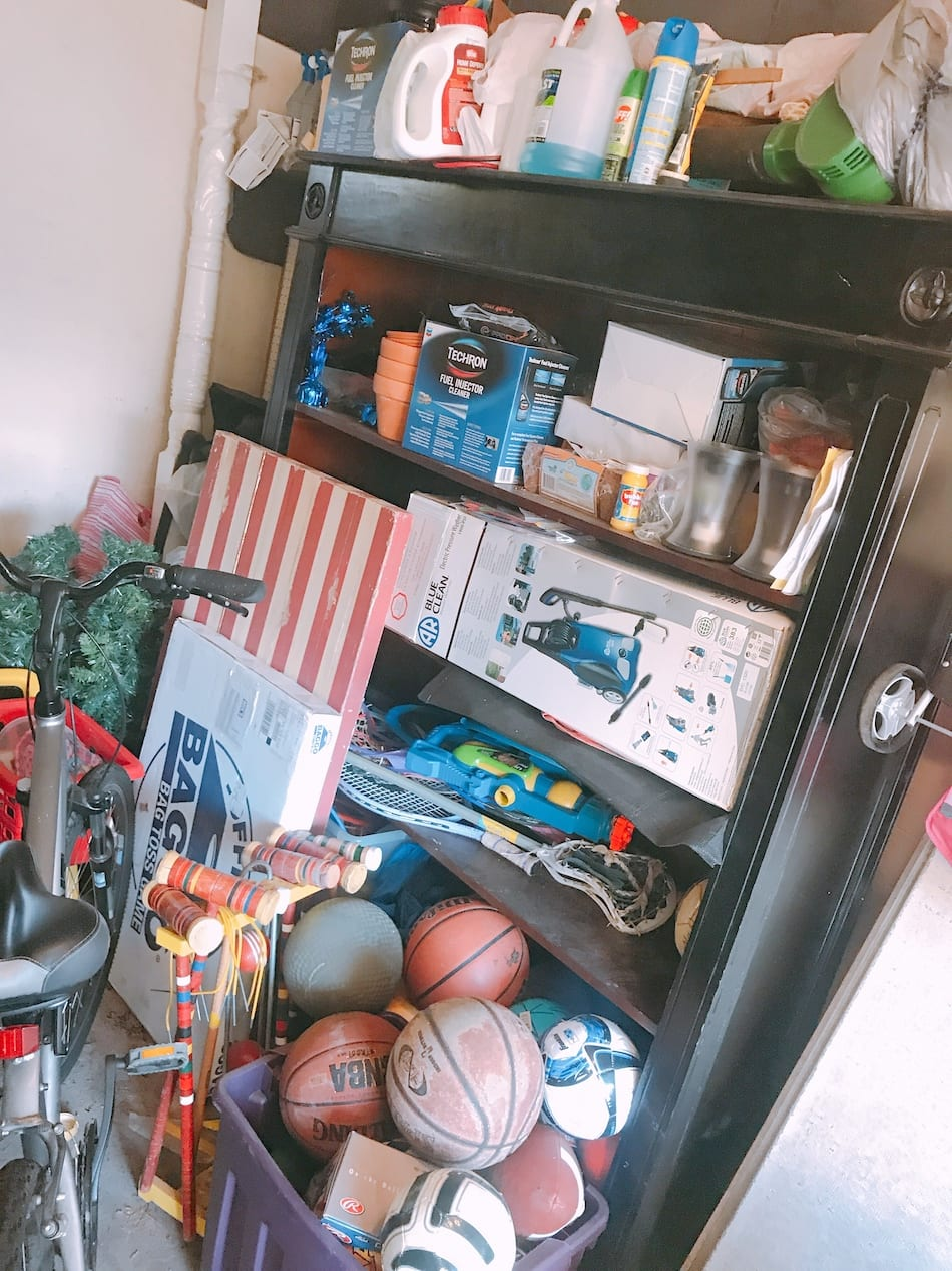 messy garage sports storage
