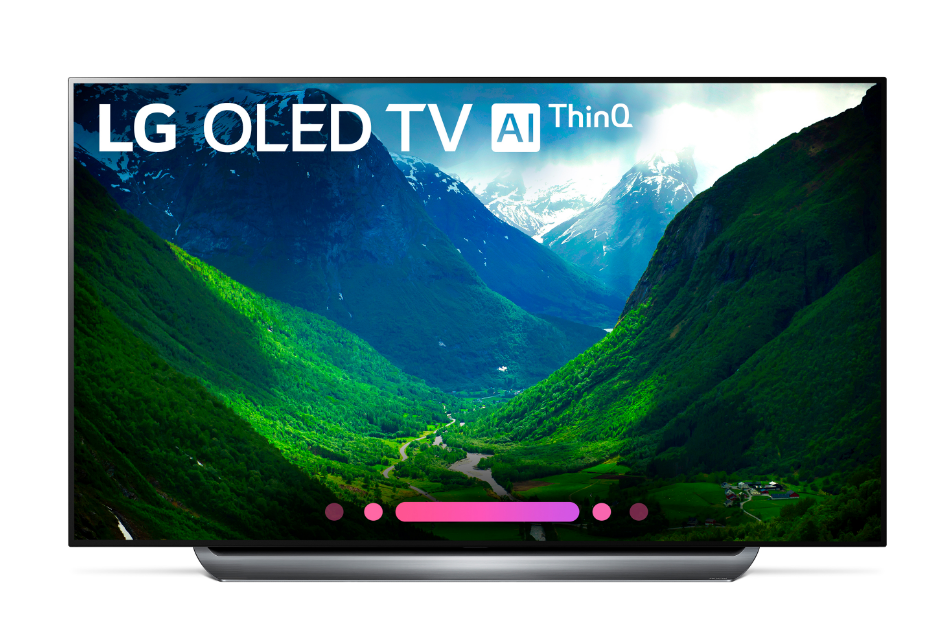 2018 LG OLED C8 front of tV