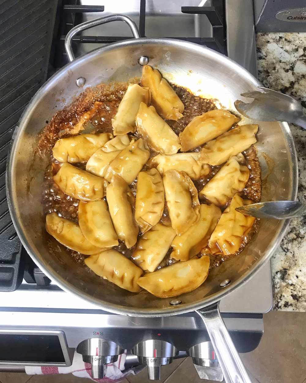 Ling Ling Potstickers cooking in pan