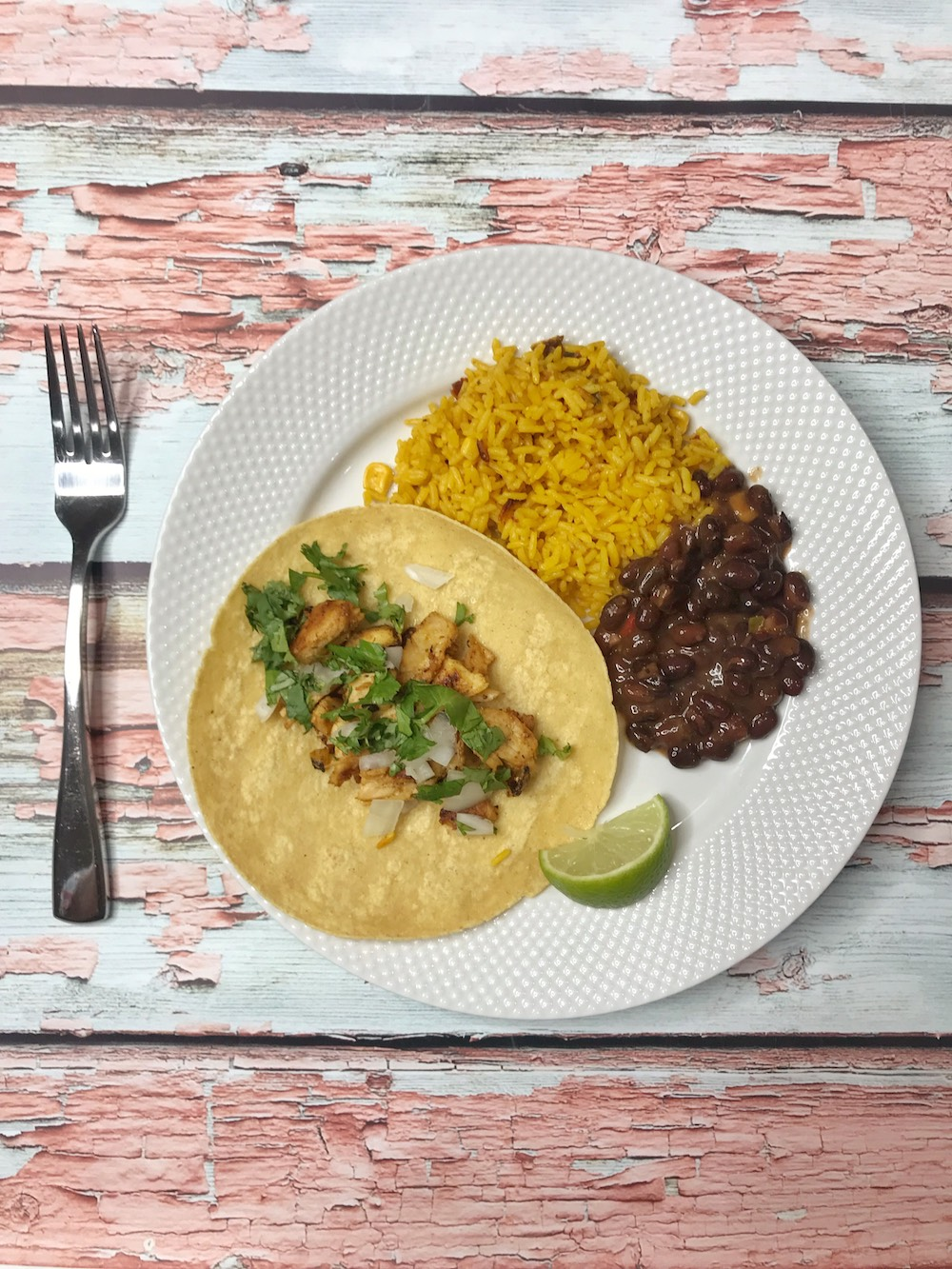 BUSH'S Savory Beans with taco plated