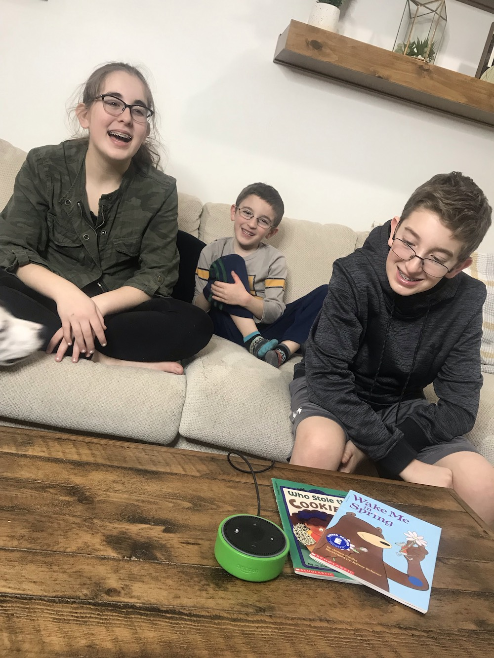 Amazon Echo Dot Kids Edition kids on couch