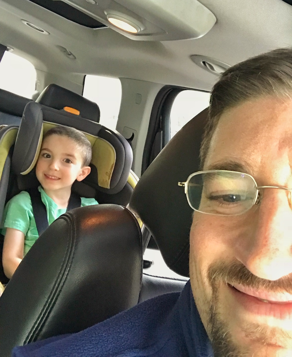 father and son car selfie - hotspot shield