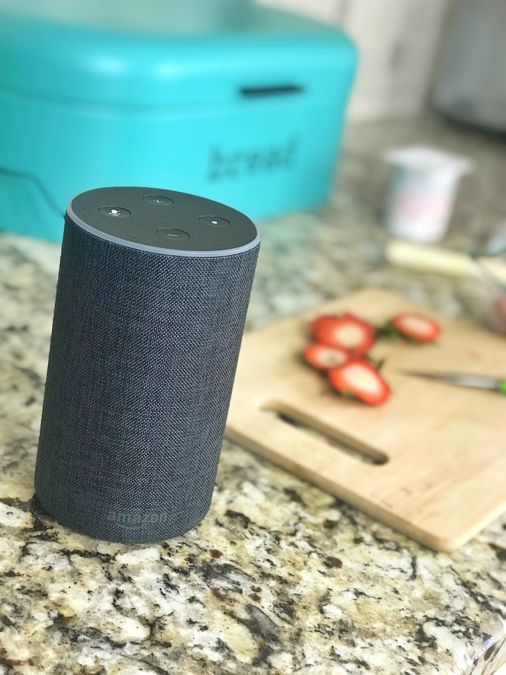 Amazon Echo Amazon Alexa close on kitchen counter