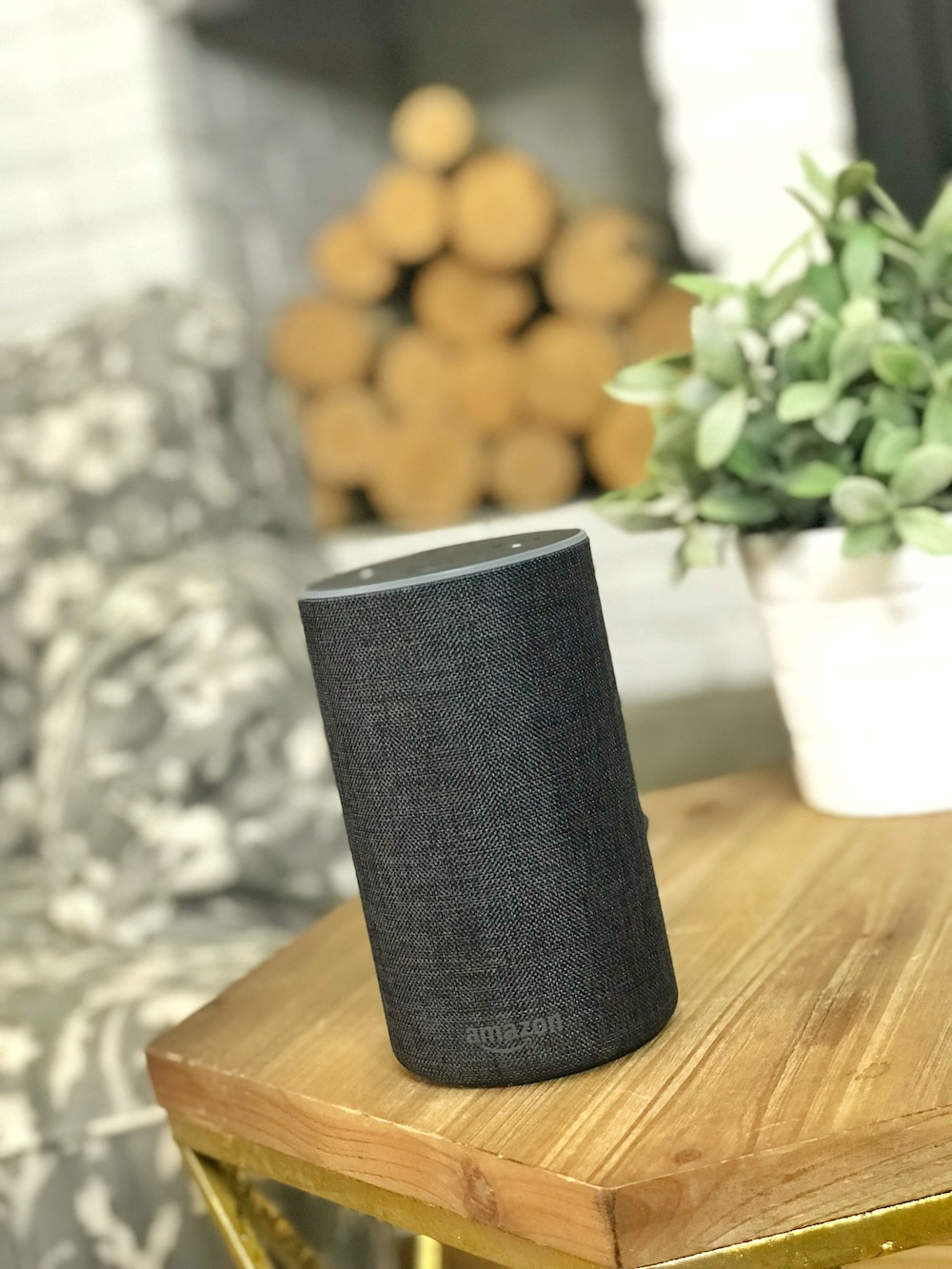 Amazon Echo Amazon Alexa close on sidetable