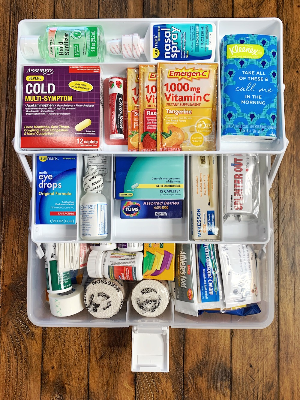 The College Student First Aid Kit open