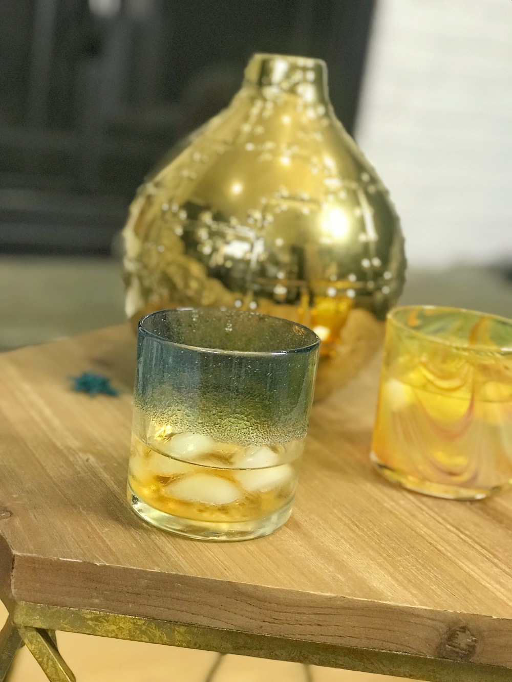 cocktail glass drinkware from JFR Glass close on side table