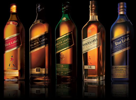johnnie walker 5 bottles